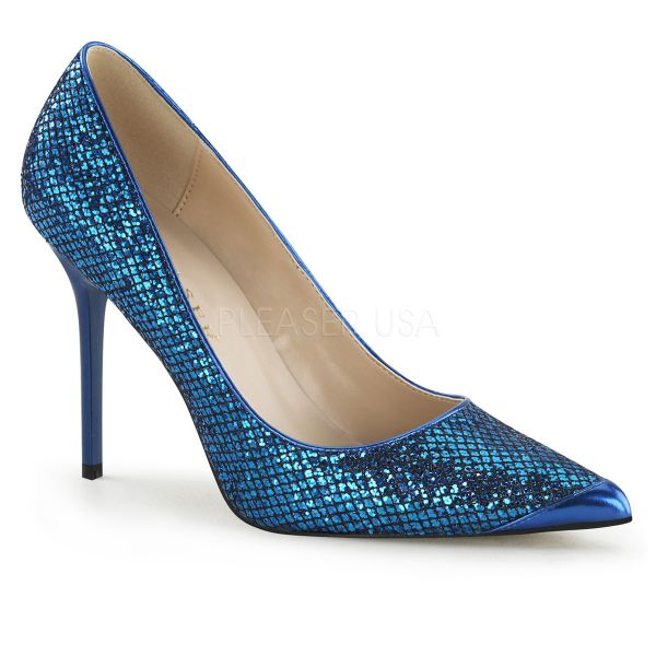 Klassischer Pumps in blau Glitter mit Stiletto Absatz CLASSIQUE-20